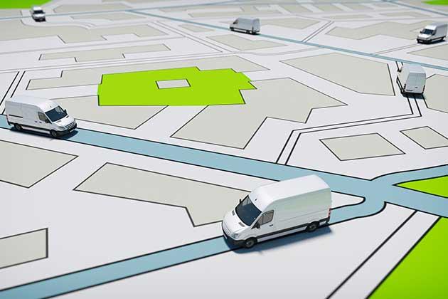 várias vans simulam trajetos de entrega do aumento de vendas de cosméticos