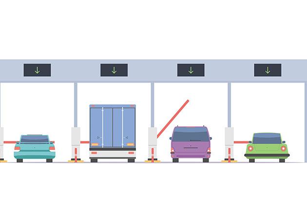 desenho de 4 veículos parados no pedágios sendo obrigados a pagarem as taxas de transporte de cargas